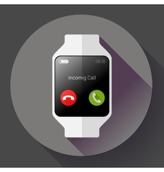 Modern smart watch icon flat design style vector