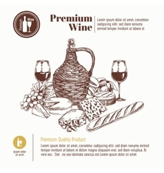 background with hand drawn wine bottle vector image