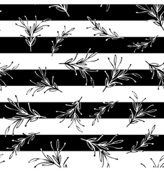 Black and white striped floral minimal simple vector