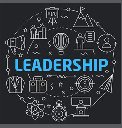 black line flat circle leadership vector image