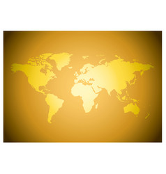 Bright golden background with map of the world vector