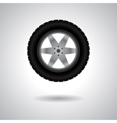 Car wheel with shadow vector