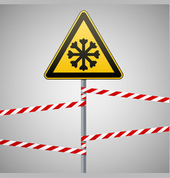carefully cold warning sign safety pillar with vector image vector image