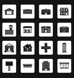 City infrastructure items icons set squares vector