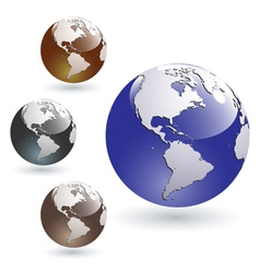 colored glossy earth globes vector image vector image