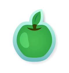 colorful green apple sticker vector image vector image