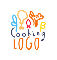 colorful handmade logo with abstract food decor vector image
