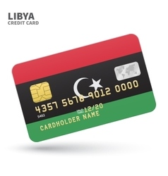 Credit card with libya flag background for bank vector