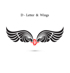 D-letter sign and angel wingsmonogram wing logo vector