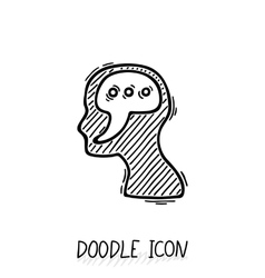 Doodle icon with human head Symbol think and vector image