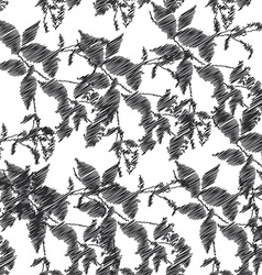 Embroidery black leaves on white background vector image vector image