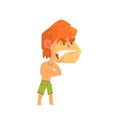 Furious young redhead man wearing shorts vector