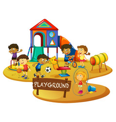 Happy children play in playground vector