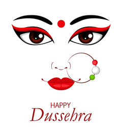 Happy dussehra contour of maa durga face vector
