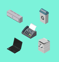 Isometric business set of laptop scanner garbage vector