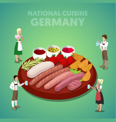 Isometric germany national cuisine with sausage vector