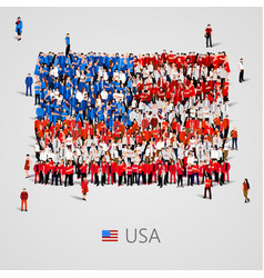Large group of people in the usa flag shape vector