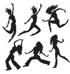 Modern dancers silhouette vector