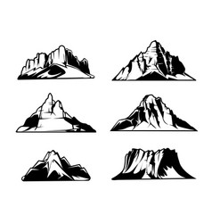 monochrome mountains silhouettes snowy vector image