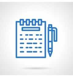 Notes icon blue simple line style vector image