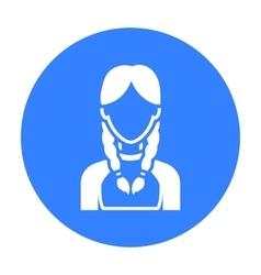 Pigtails icon black single avatarpeaople icon vector