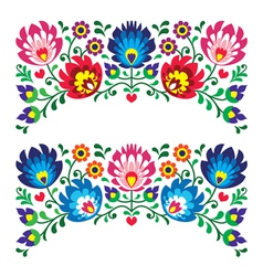 Polish floral folk embroidery patterns for card vector image vector image