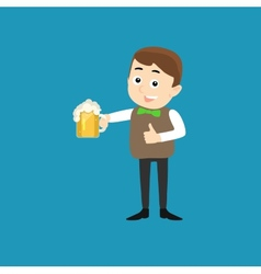 Poster for oktoberfest - smiling man with beer vector