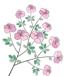 Pretty colorful flower line art vector image vector image