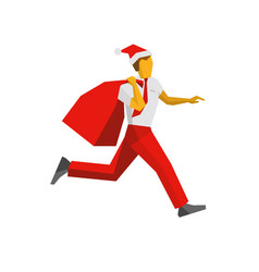 running businessman in santa hat with gift bag vector image vector image
