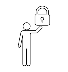 Safety lock and man pictogram icon image vector