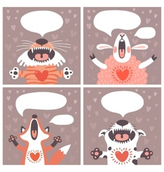Set of cards with funny animals vector