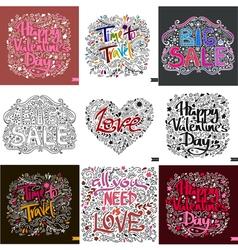 Set of nine different postcard lettering love ink vector
