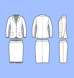 Simple outline drawing of a blazer and skirt vector