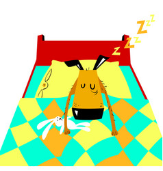 Sleeping dog cartoon with cute dog vector