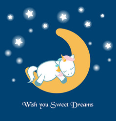 Unicorn asleep on the moon unicorn asleep on the vector