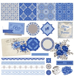 Vintage Porcelain and Flower Set vector image