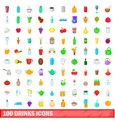 100 drink icons set cartoon style vector image vector image
