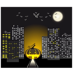 Halloween urban scene vector