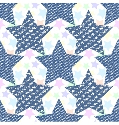 Denim jeans texture seamless pattern stars vector