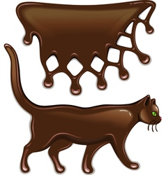 Chocolate decor and cat vector