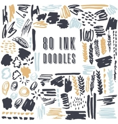 Set of 50 grungy artistic doodles vector