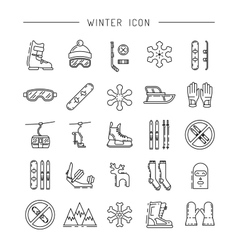 Set winter icon vector