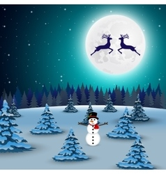 Night christmas forest landscape vector