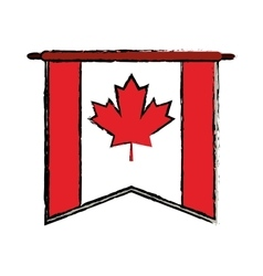 Flag pennant canadian sketch vector