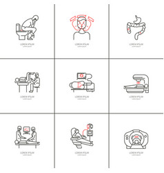 Cancer of the bowel set icons vector