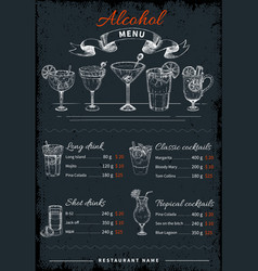 Alcoholic drinks and cocktails menu vector