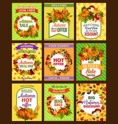 Autumn sale retro poster set with fall season leaf vector