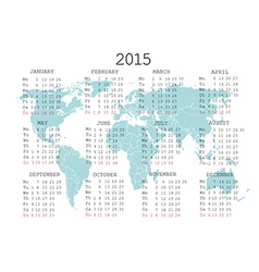 2015 calendar with world map vector image
