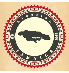 Vintage label-sticker cards of jamaica vector