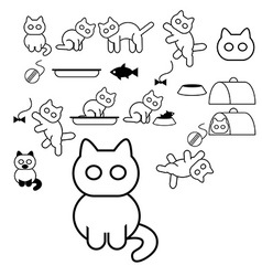 Cats icons vector image